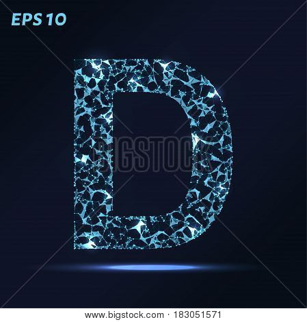 The Letter D Consists Of Points, Lines And Triangles. Vector Illustration.