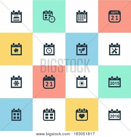 Vector Illustration Set Of Simple Calendar Icons. Elements Renovation Tools, Date Block, Heart And Other Synonyms Calendar, Block And Birthday.