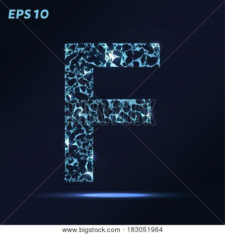 The Letter F Consists Of Points, Lines And Triangles. Vector Illustration.