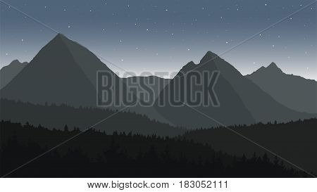 Panoramic view of landscape with dark silhouettes of hills and mountains behind the forest under dramatic clean gray night sky with stars - vector illustration