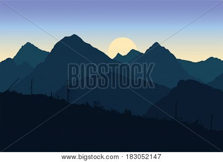View of mountain landscapes devastated after the apocalypse was destroyed trees under a spring sky with the sun rising - vector