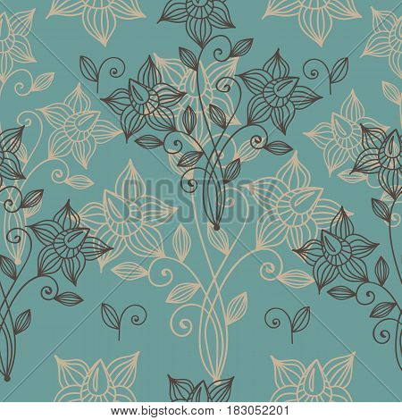 Vintage floral seamless pattern. Flourish oriental ethnic background. Arabic ornament with color line flowers and dot. Vector fancy motives of stylish vintage fabric patterns.