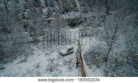 Aerial view near of Kinderlinskaya cave and village Tash-Asty on Zilim river