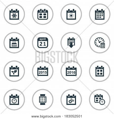 Vector Illustration Set Of Simple Time Icons. Elements Snowflake, Reminder, Event And Other Synonyms Winter, Summer And Reminder.