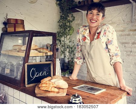 Woman using tablet for online business order