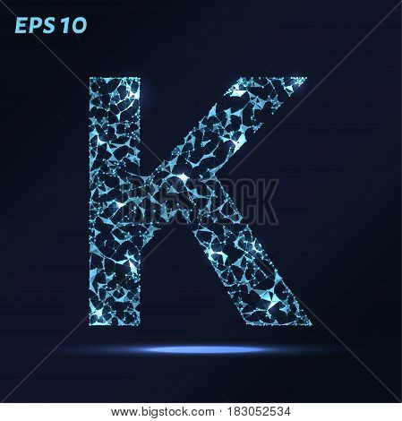 The Letter K Consists Of Points, Lines And Triangles. Vector Illustration.