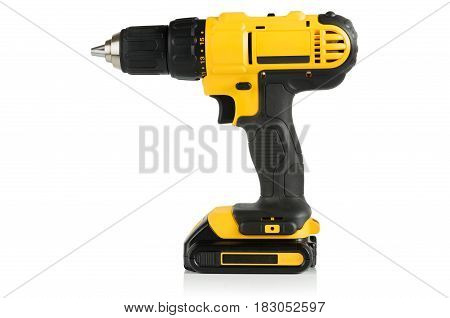 modern professional a cordless drill screwdriver yellow and black on a white background