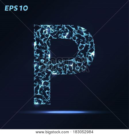 The Letter P Consists Of Points, Lines And Triangles. Vector Illustration.