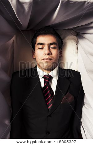 Photo Of A Man Inside A Coffin