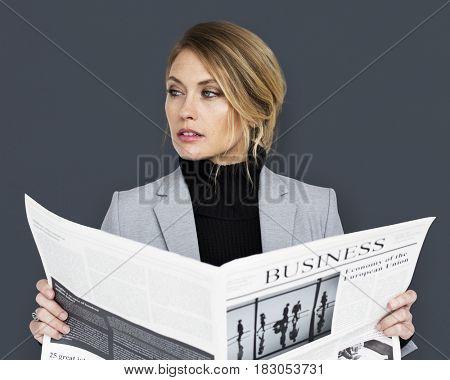 Caucasian Business Woman Reading Newspaper