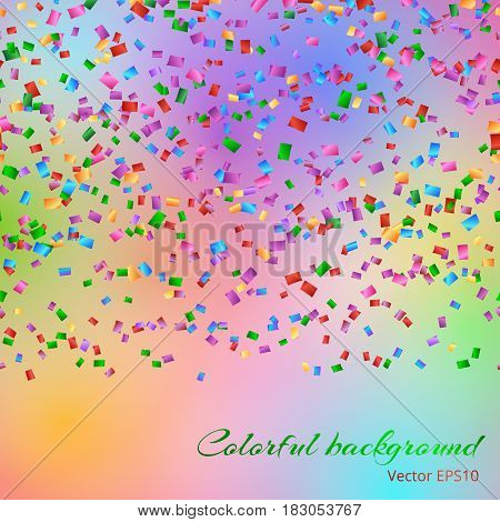 Glitter sparkle background with falling confetti on the colorful backdrop