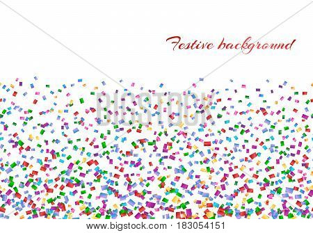 Celebration background with confetti isolated on a white backdrop