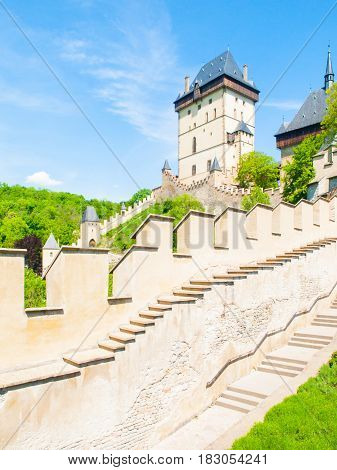 Medieval gothic royal castle Karlstejn, Czech Reoublic.