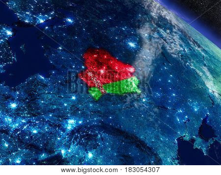 Belarus With Embedded Flag From Space