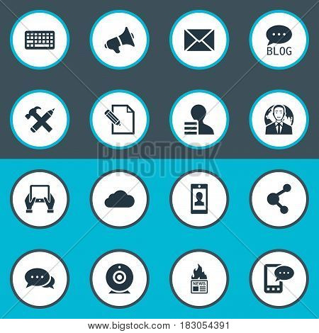 Vector Illustration Set Of Simple Blogging Icons. Elements Post, Repair, Gain And Other Synonyms Web, Globe And Laptop.