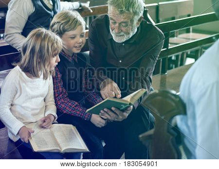 Adult Man Priest Father Show Bible Kids Church