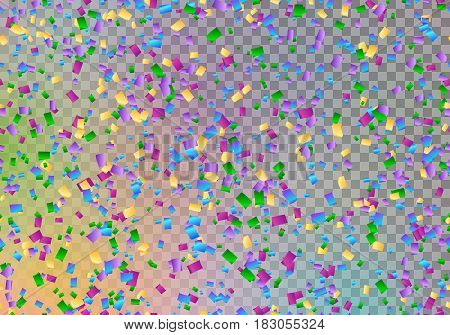 Happy new year background with confetti in the air on a transparent backdrop