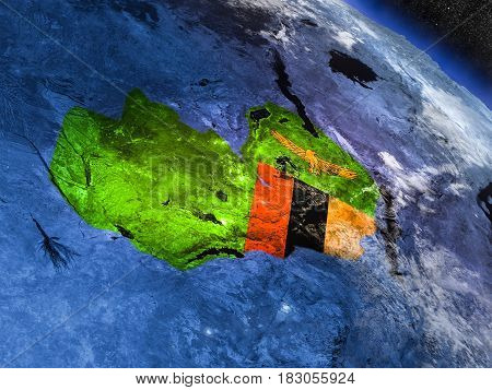 Zambia With Embedded Flag From Space