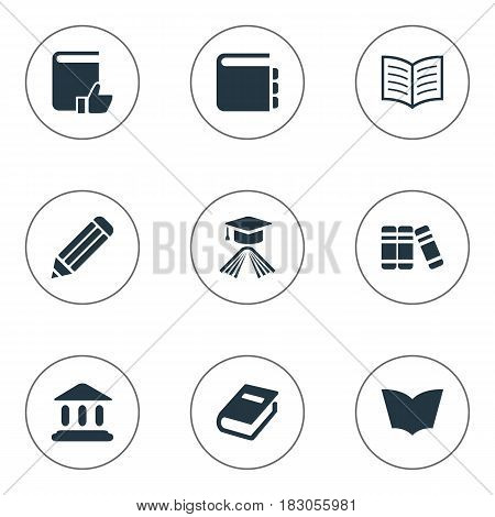 Vector Illustration Set Of Simple Education Icons. Elements Journal, Library, Pen And Other Synonyms Favored, Page And Writing.