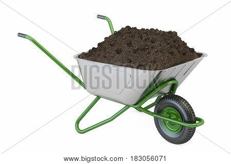Garden wheelbarrow with soil or compost 3D rendering isolated on white background