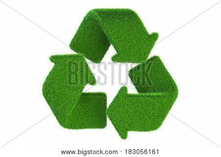 Grassy recycle symbol 3D rendering isolated on white background