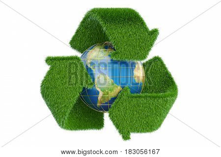 Grassy recycle symbol with Earth globe 3D rendering isolated on white background