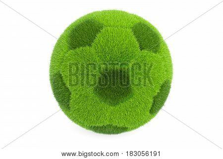 Grassy soccer ball 3D rendering isolated on white background