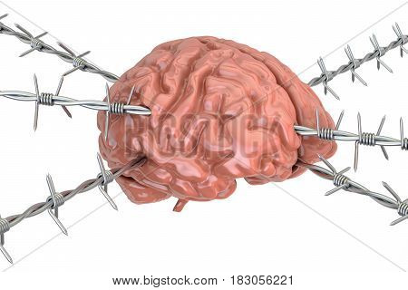 Human Brain pierced with barbed wire 3D rendering isolated on white background