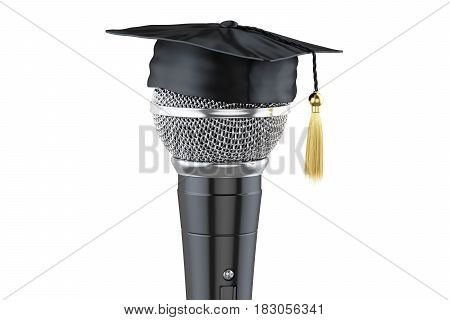 microphone with graduation cap 3D rendering isolated on white background