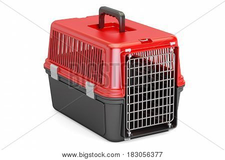 Pet travel plastic cage 3D rendering isolated on white background