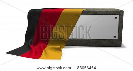 stone socket with blank sign and flag of germany - 3d rendering