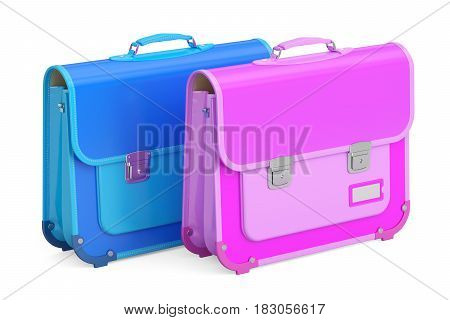 Two schoolbags briefcases. 3D rendering isolated on white background