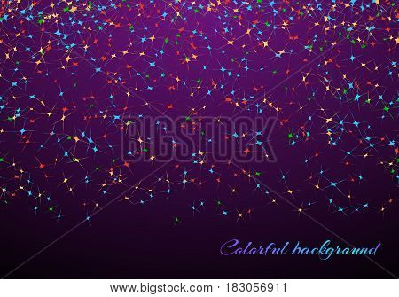 Festival background with confetti in air on the violet backdrop