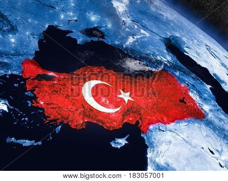 Turkey With Embedded Flag From Space