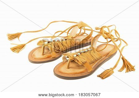 Indian leather slippers isolated on white background