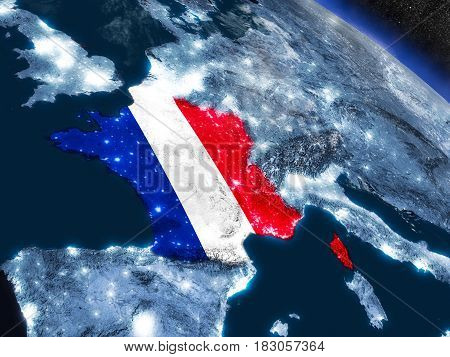 France With Embedded Flag From Space
