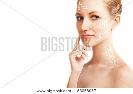 stylish blond blue eyed woman portrait with surgery lines