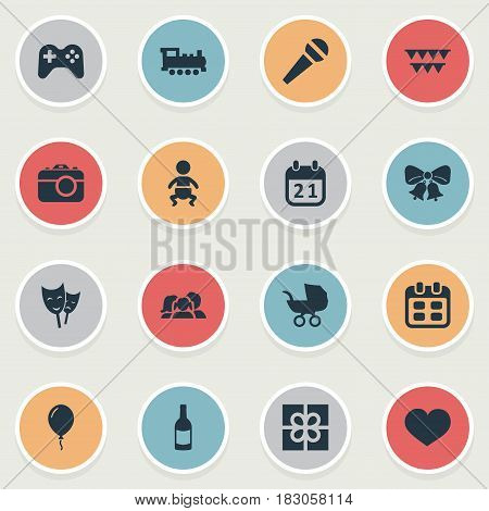 Vector Illustration Set Of Simple Birthday Icons. Elements Resonate, Speech, Baby Carriage And Other Synonyms Beverage, Joystick And Domestic.