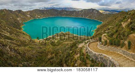 Quilotoa lagoon circle trek near Latacunga town in Ecuador