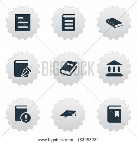 Vector Illustration Set Of Simple Reading Icons. Elements Important Reading, Notebook, Tasklist And Other Synonyms Reading, Notebook And Important.