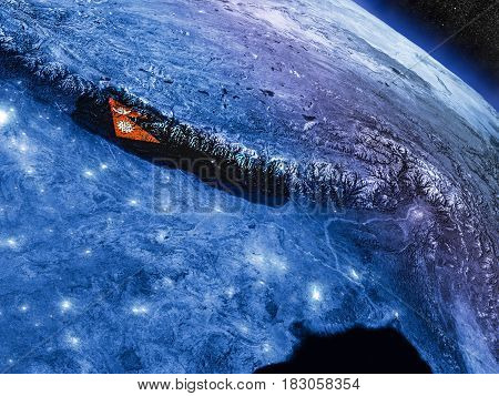 Nepal With Embedded Flag From Space