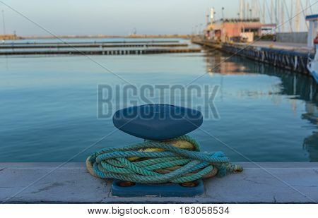 Blue Iron Mooring Bollard and Nautical Ropes