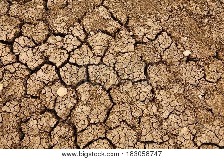 Dried out soil texture closeup