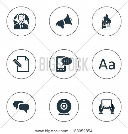 Vector Illustration Set Of Simple Newspaper Icons. Elements Gazette, E-Letter, Notepad And Other Synonyms Typography, Hot And Conversation.