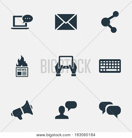 Vector Illustration Set Of Simple Blogging Icons. Elements Keypad, Gazette, Gossip And Other Synonyms News, Conversation And Megaphone.