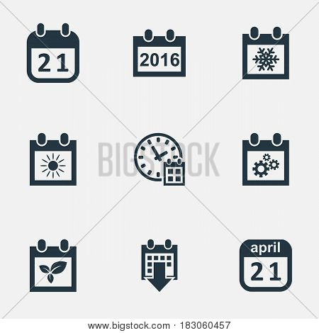 Vector Illustration Set Of Simple Time Icons. Elements 2016 Calendar, Snowflake, Almanac And Other Synonyms Sun, Almanac And Calendar.