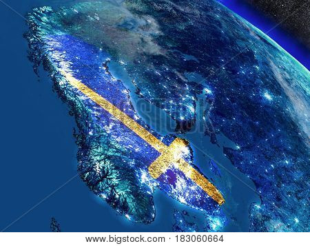 Sweden With Embedded Flag From Space