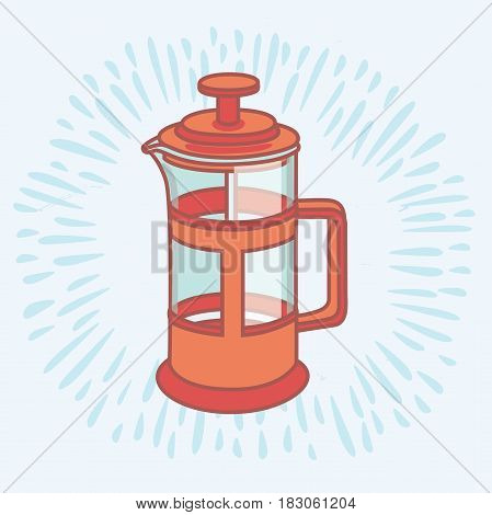 Vector outline illustration of french press. Braista equipment tools for making coffee