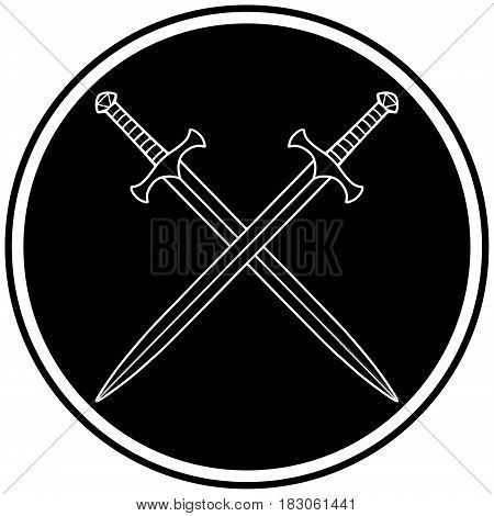 A vector illustration of a Crossed Swords icon.