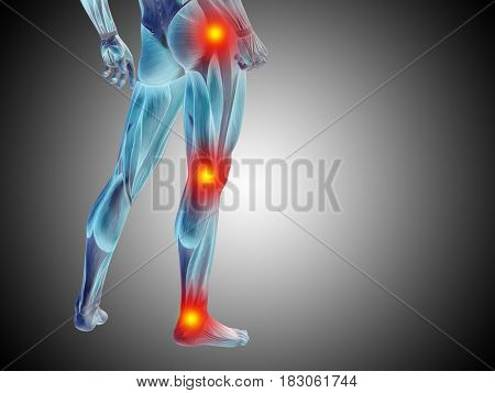 Conceptual 3D illustration of human man anatomy lower body or health design, joint or articular pain, ache or injury on gray gradient background